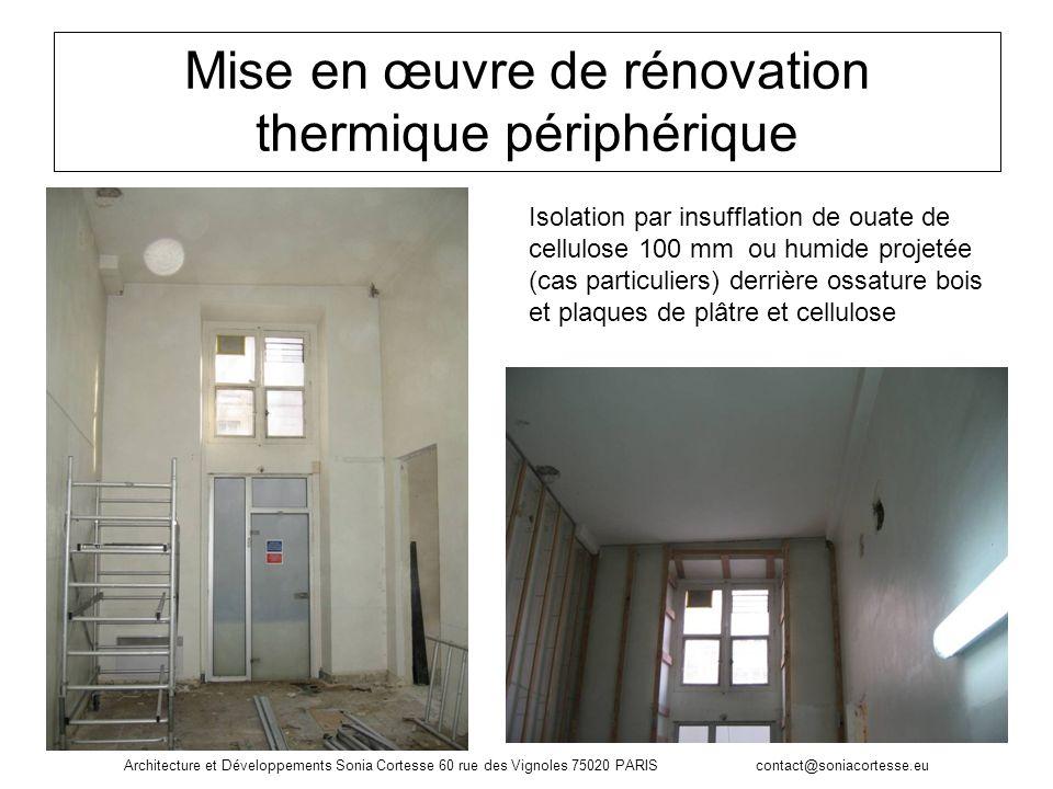 Mise en œuvre de rénovation thermique périphérique Isolation par insufflation de ouate de cellulose 100 mm ou humide projetée (cas particuliers) derri