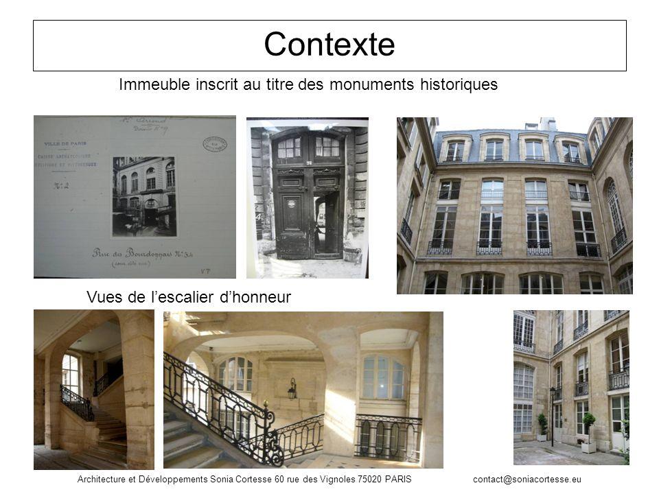Architecture et Développements Sonia Cortesse 60 rue des Vignoles 75020 PARIS contact@soniacortesse.eu Contexte Immeuble inscrit au titre des monument