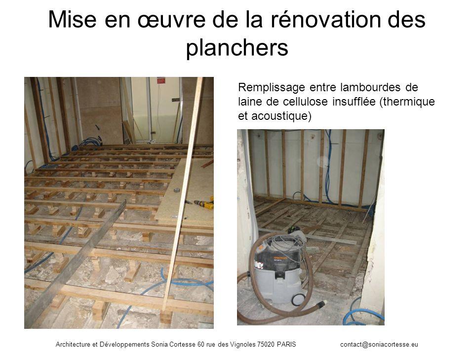 Architecture et Développements Sonia Cortesse 60 rue des Vignoles 75020 PARIS contact@soniacortesse.eu Mise en œuvre de la rénovation des planchers Re