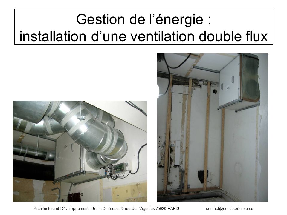 Gestion de lénergie : installation dune ventilation double flux