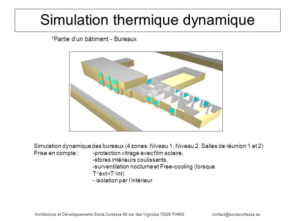 Simulation thermique dynamique *Partie dun bâtiment - Bureaux Simulation dynamique des bureaux (4 zones: Niveau 1, Niveau 2, Salles de réunion 1 et 2)