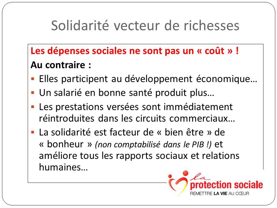 Solidarité vecteur de richesses Les dépenses sociales ne sont pas un « coût » .