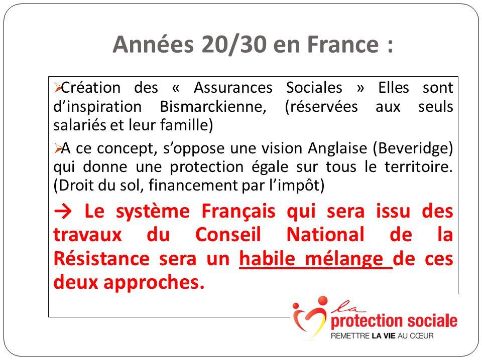 Années 20/30 en France : Création des « Assurances Sociales » Elles sont dinspiration Bismarckienne, (réservées aux seuls salariés et leur famille) A ce concept, soppose une vision Anglaise (Beveridge) qui donne une protection égale sur tous le territoire.