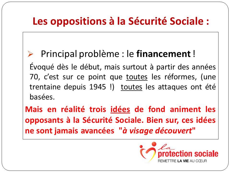 Les oppositions à la Sécurité Sociale : Principal problème : le financement .
