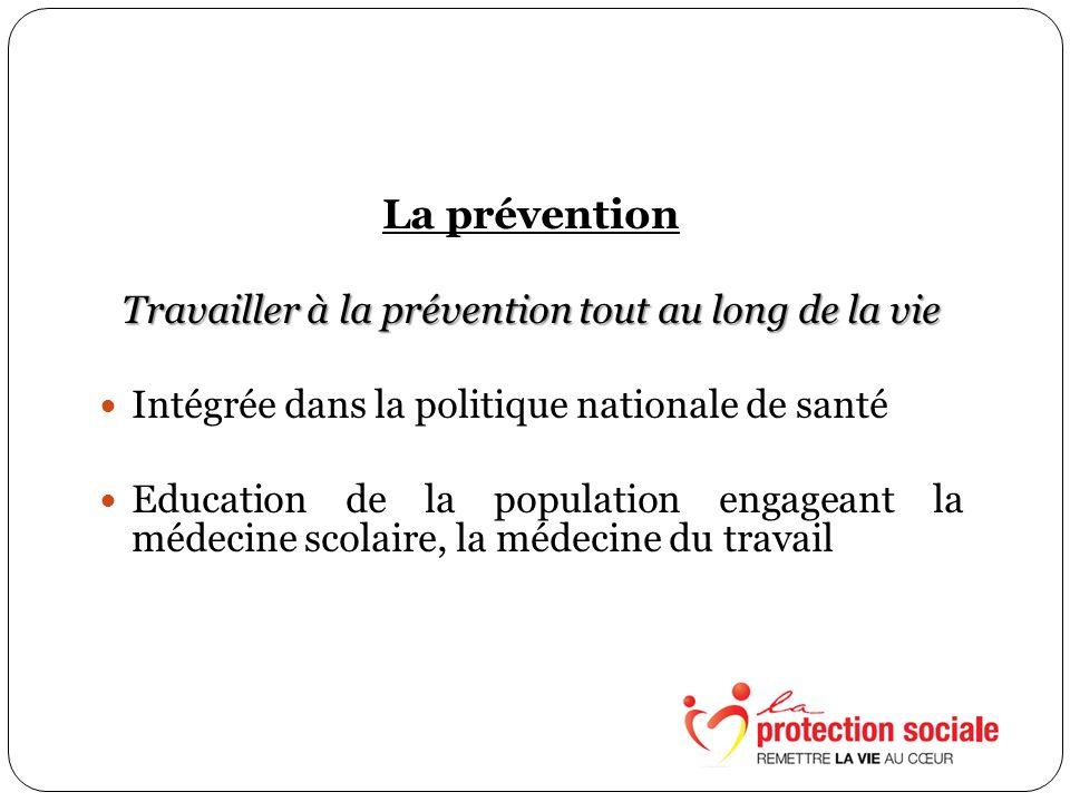 La prévention Travailler à la prévention tout au long de la vie Intégrée dans la politique nationale de santé Education de la population engageant la médecine scolaire, la médecine du travail