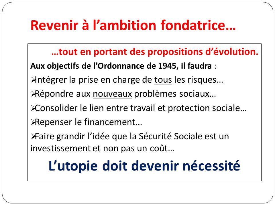 Revenir à lambition fondatrice… …tout en portant des propositions dévolution.