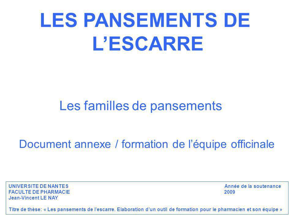 LES PANSEMENTS DE LESCARRE Les familles de pansements Document annexe / formation de léquipe officinale UNIVERSITE DE NANTES Année de la soutenance FA