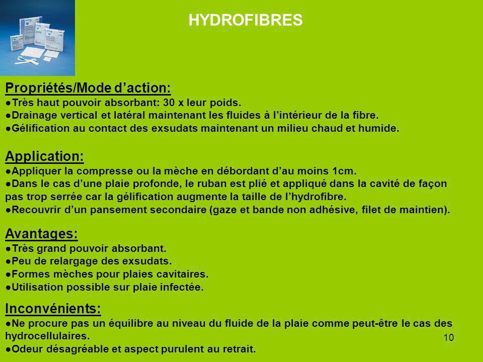 10 HYDROFIBRES Propriétés/Mode daction: Très haut pouvoir absorbant: 30 x leur poids. Drainage vertical et latéral maintenant les fluides à lintérieur