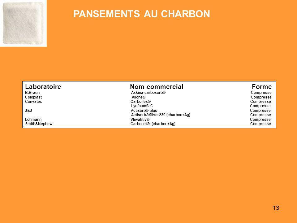 13 Laboratoire Nom commercial Forme B.Braun Askina carbosorb® Compresse Coloplast Alione® Compresse Convatec Carboflex® Compresse Lyofoam® C Compresse