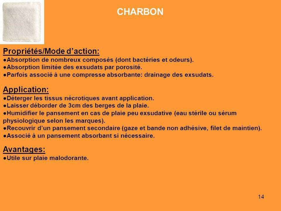 14 CHARBON Propriétés/Mode daction: Absorption de nombreux composés (dont bactéries et odeurs). Absorption limitée des exsudats par porosité. Parfois