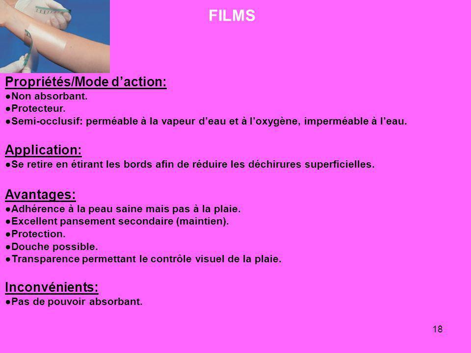 18 FILMS Propriétés/Mode daction: Non absorbant. Protecteur. Semi-occlusif: perméable à la vapeur deau et à loxygène, imperméable à leau. Application: