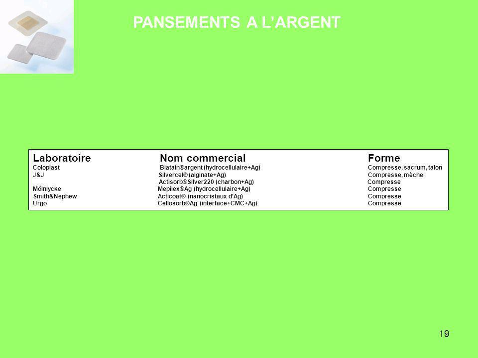 19 Laboratoire Nom commercial Forme Coloplast Biatain®argent (hydrocellulaire+Ag) Compresse, sacrum, talon J&J Silvercel® (alginate+Ag) Compresse, mèc