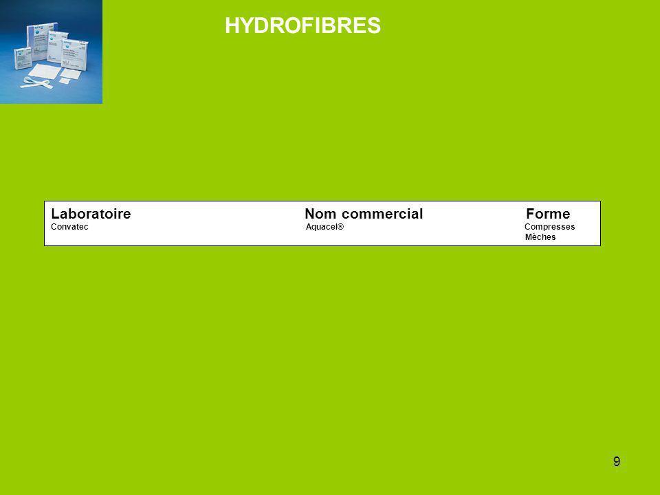 9 Laboratoire Nom commercial Forme Convatec Aquacel® Compresses Mèches HYDROFIBRES