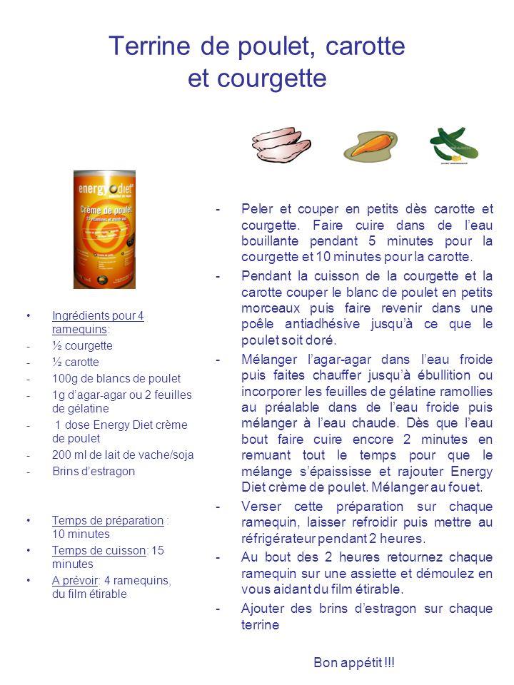 Terrine de poulet, carotte et courgette Ingrédients pour 4 ramequins: -½ courgette -½ carotte -100g de blancs de poulet -1g dagar-agar ou 2 feuilles d