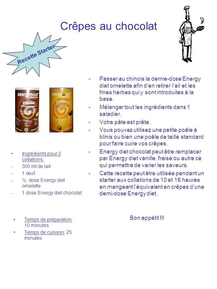 Crêpes au chocolat Ingrédients pour 3 collations: -300 ml de lait -1 œuf -½ dose Energy diet omelette -1 dose Energy diet chocolat Temps de préparatio