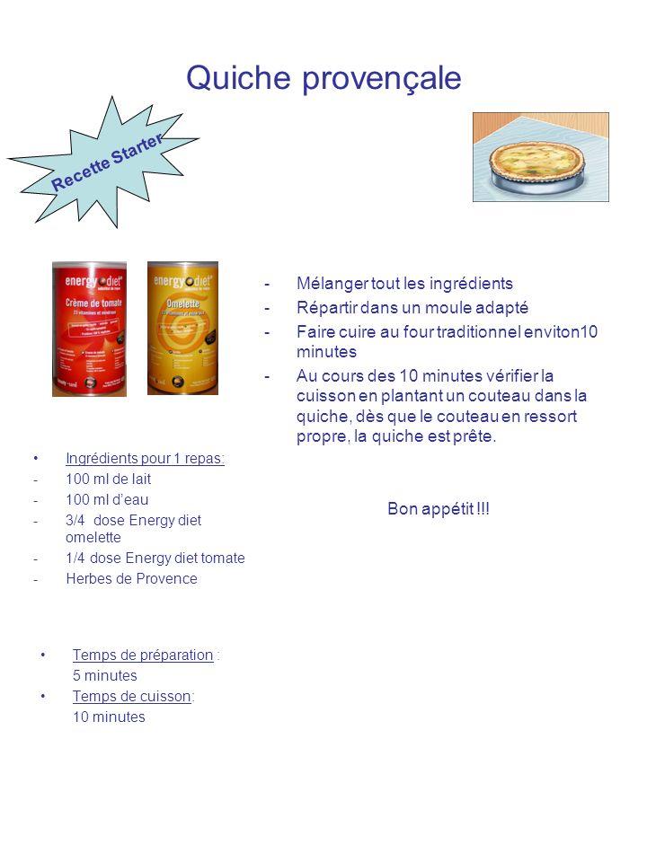 Quiche provençale Ingrédients pour 1 repas: -100 ml de lait -100 ml deau -3/4 dose Energy diet omelette -1/4 dose Energy diet tomate -Herbes de Proven