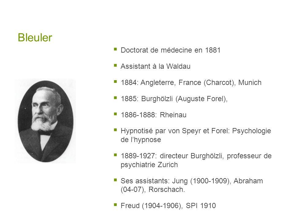 Bleuler Doctorat de médecine en 1881 Assistant à la Waldau 1884: Angleterre, France (Charcot), Munich 1885: Burghölzli (Auguste Forel), 1886-1888: Rhe