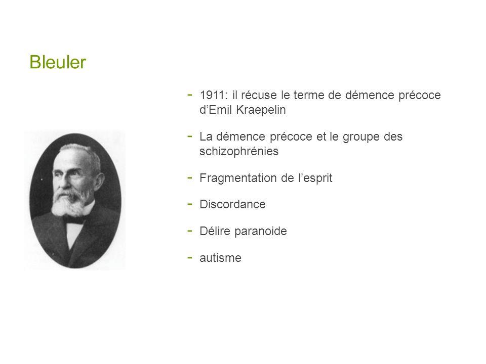Bleuler - 1911: il récuse le terme de démence précoce dEmil Kraepelin - La démence précoce et le groupe des schizophrénies - Fragmentation de lesprit - Discordance - Délire paranoide - autisme
