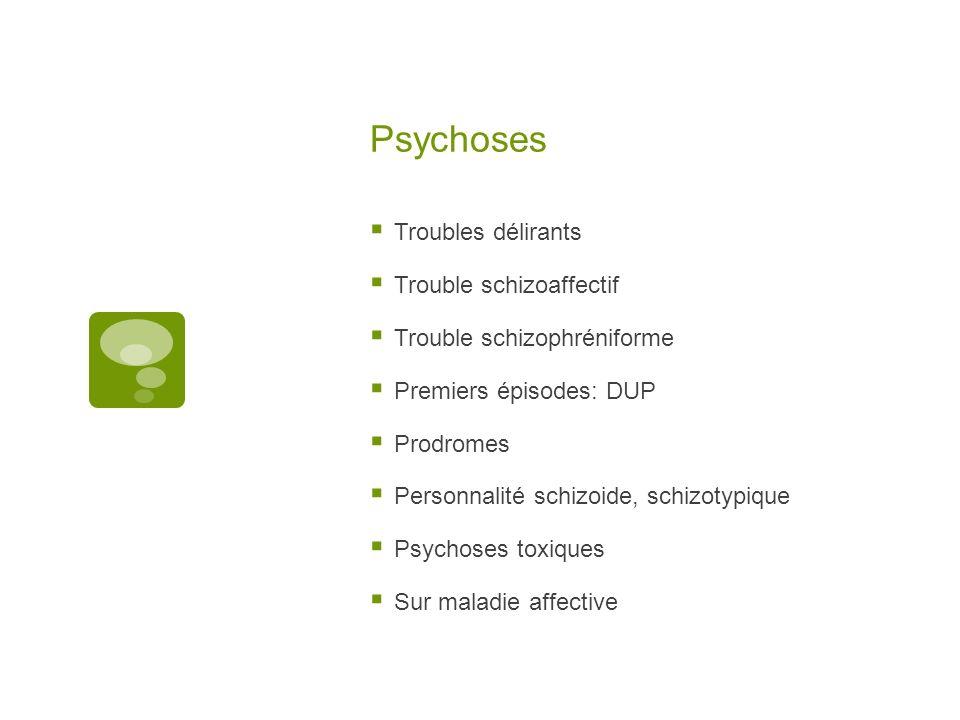 Psychoses Troubles délirants Trouble schizoaffectif Trouble schizophréniforme Premiers épisodes: DUP Prodromes Personnalité schizoide, schizotypique Psychoses toxiques Sur maladie affective