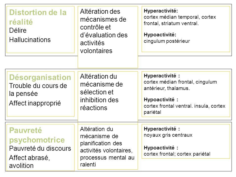 Distortion de la réalité Délire Hallucinations Altération des mécanismes de contrôle et dévaluation des activités volontaires Hyperactivité: cortex médian temporal, cortex frontal, striatum ventral.