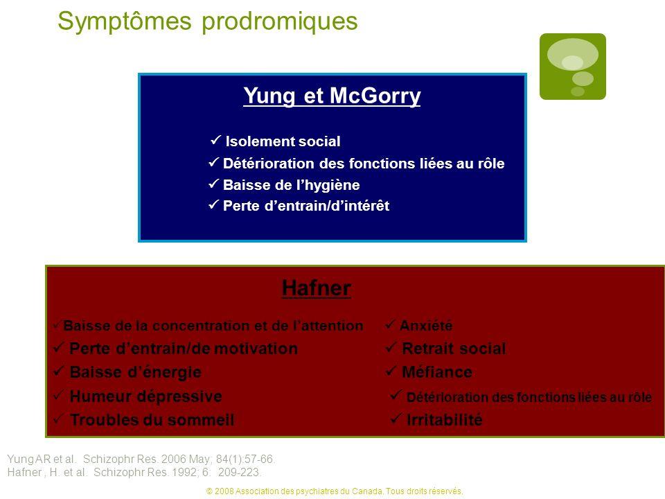 Symptômes prodromiques Yung et McGorry Isolement social Détérioration des fonctions liées au rôle Baisse de lhygiène Perte dentrain/dintérêt Hafner Ba