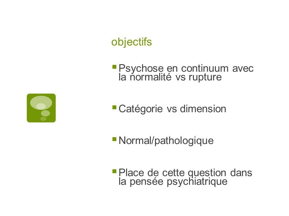 objectifs Psychose en continuum avec la normalité vs rupture Catégorie vs dimension Normal/pathologique Place de cette question dans la pensée psychiatrique