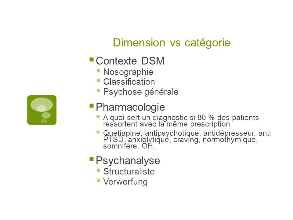 Dimension vs catégorie Contexte DSM Nosographie Classification Psychose générale Pharmacologie A quoi sert un diagnostic si 80 % des patients ressortent avec la même prescription Quetiapine: antipsychotique, antidépresseur, anti PTSD, anxiolytique, craving, normothymique, somnifère, OH, Psychanalyse Structuraliste Verwerfung