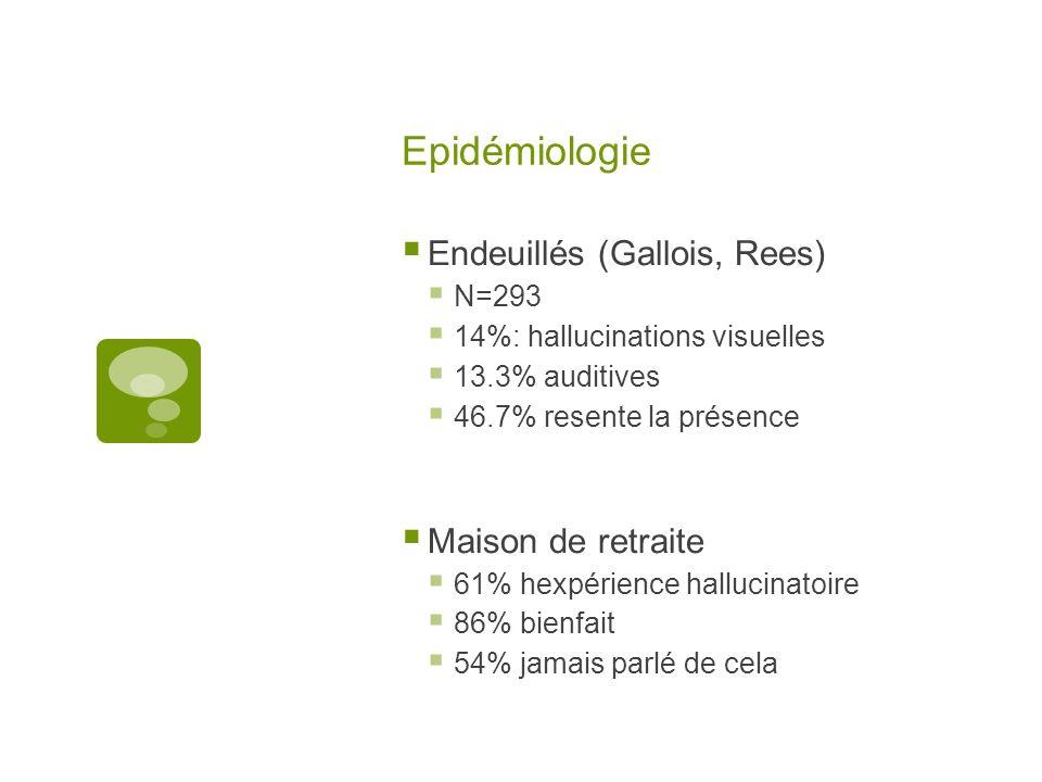 Epidémiologie Endeuillés (Gallois, Rees) N=293 14%: hallucinations visuelles 13.3% auditives 46.7% resente la présence Maison de retraite 61% hexpérience hallucinatoire 86% bienfait 54% jamais parlé de cela