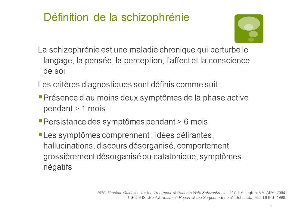 5 Définition de la schizophrénie La schizophrénie est une maladie chronique qui perturbe le langage, la pensée, la perception, laffect et la conscience de soi Les critères diagnostiques sont définis comme suit : Présence dau moins deux symptômes de la phase active pendant 1 mois Persistance des symptômes pendant > 6 mois Les symptômes comprennent : idées délirantes, hallucinations, discours désorganisé, comportement grossièrement désorganisé ou catatonique, symptômes négatifs APA.