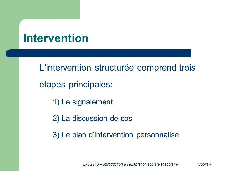 EFI 2243 – Introduction à ladaptation sociale et scolaireCours 4 Intervention Lintervention structurée comprend trois étapes principales: 1) Le signal
