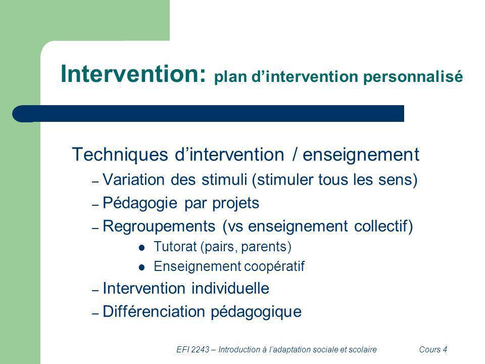 EFI 2243 – Introduction à ladaptation sociale et scolaireCours 4 Intervention: plan dintervention personnalisé Techniques dintervention / enseignement
