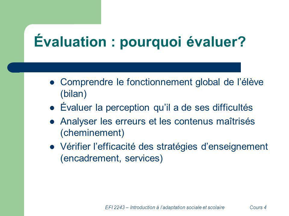 EFI 2243 – Introduction à ladaptation sociale et scolaireCours 4 Évaluation : pourquoi évaluer? Comprendre le fonctionnement global de lélève (bilan)