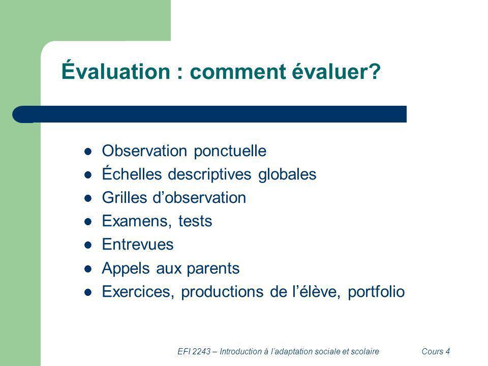 EFI 2243 – Introduction à ladaptation sociale et scolaireCours 4 Évaluation : comment évaluer? Observation ponctuelle Échelles descriptives globales G