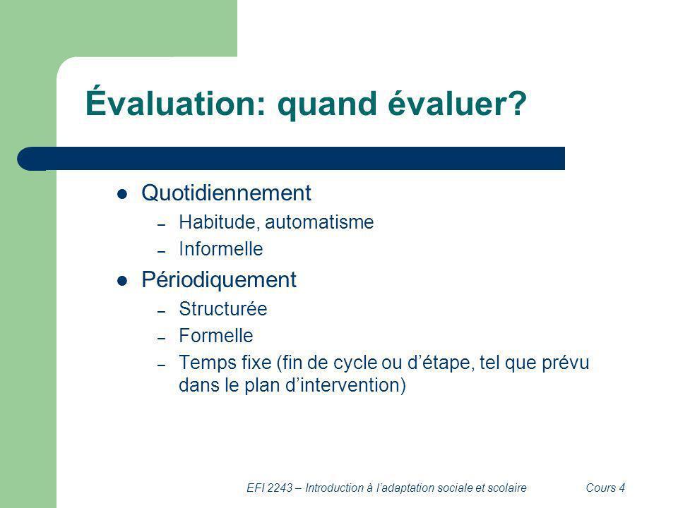 EFI 2243 – Introduction à ladaptation sociale et scolaireCours 4 Évaluation: quand évaluer? Quotidiennement – Habitude, automatisme – Informelle Pério