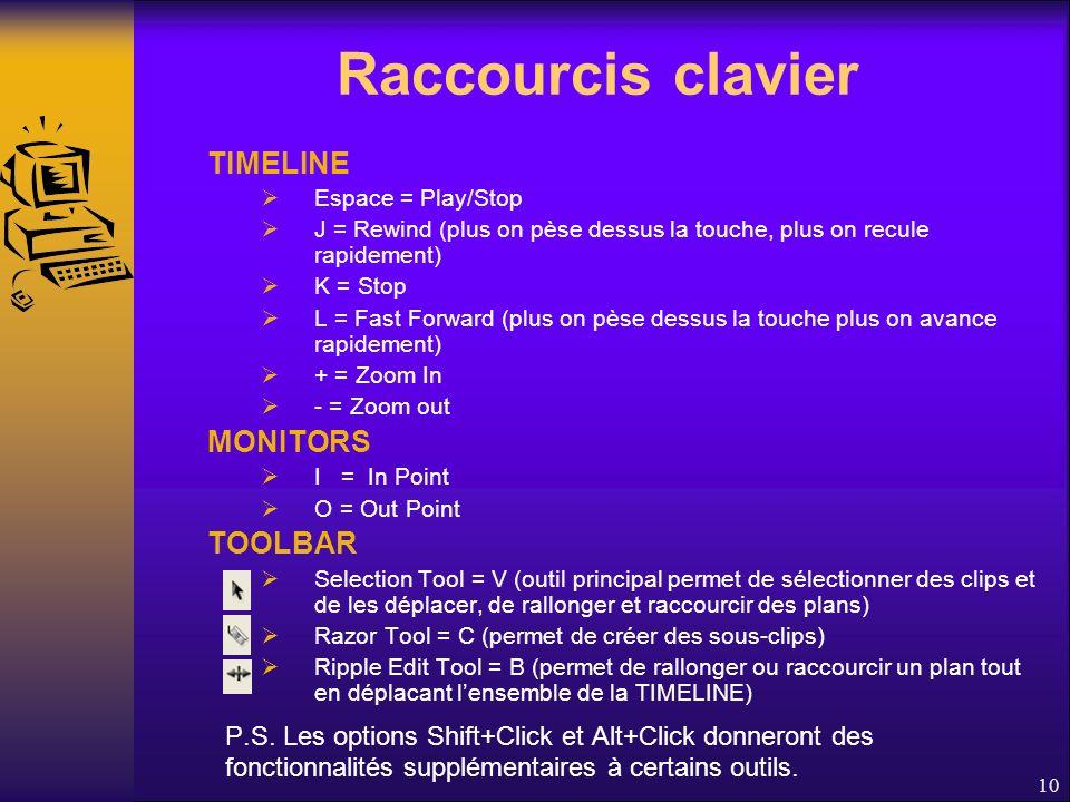 Raccourcis clavier TIMELINE Espace = Play/Stop J = Rewind (plus on pèse dessus la touche, plus on recule rapidement) K = Stop L = Fast Forward (plus on pèse dessus la touche plus on avance rapidement) + = Zoom In - = Zoom out MONITORS I = In Point O = Out Point TOOLBAR Selection Tool = V (outil principal permet de sélectionner des clips et de les déplacer, de rallonger et raccourcir des plans) Razor Tool = C (permet de créer des sous-clips) Ripple Edit Tool = B (permet de rallonger ou raccourcir un plan tout en déplacant lensemble de la TIMELINE) P.S.