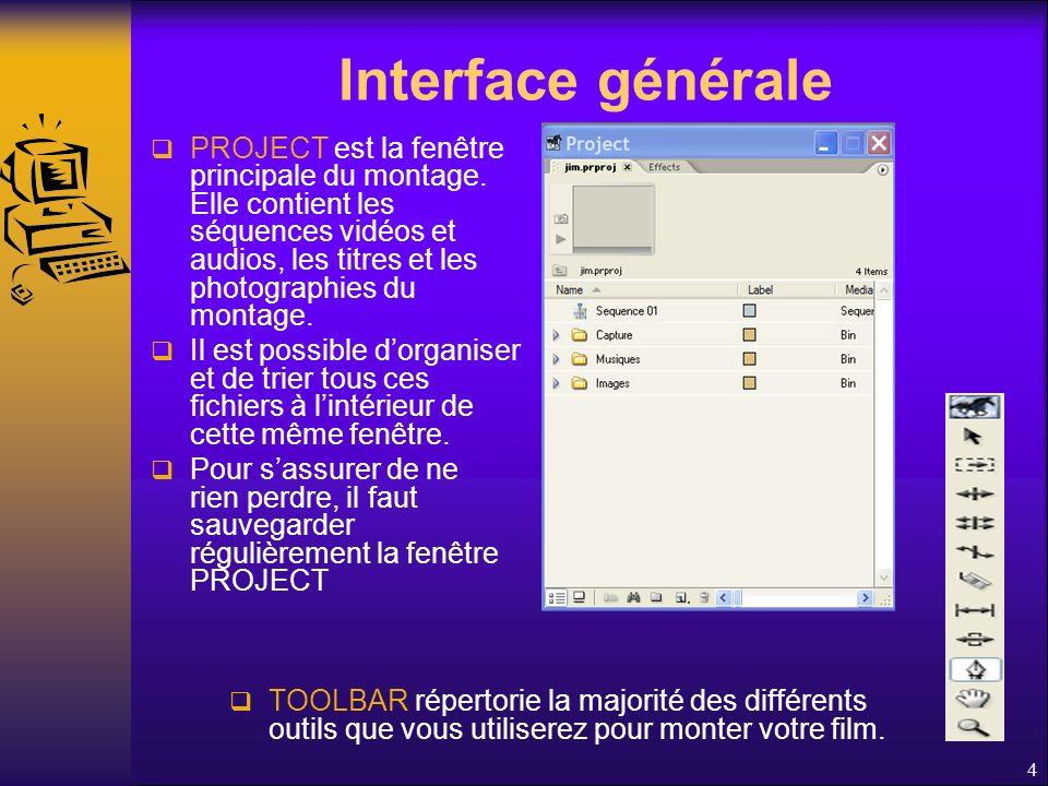 Interface générale PROJECT est la fenêtre principale du montage.