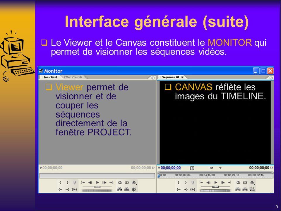 Interface générale (suite) Le Viewer et le Canvas constituent le MONITOR qui permet de visionner les séquences vidéos.