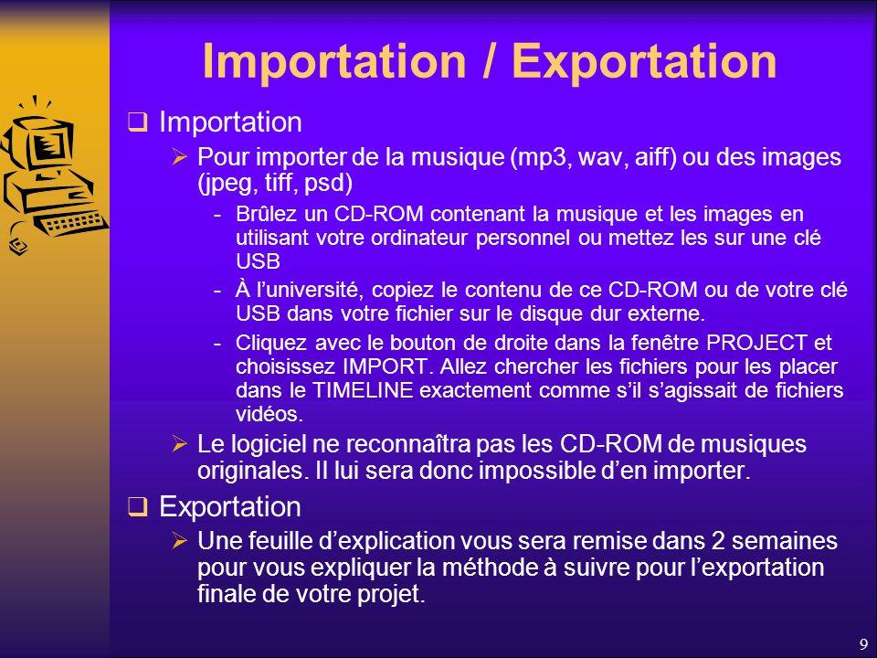 Importation / Exportation Importation Pour importer de la musique (mp3, wav, aiff) ou des images (jpeg, tiff, psd) -Brûlez un CD-ROM contenant la musique et les images en utilisant votre ordinateur personnel ou mettez les sur une clé USB -À luniversité, copiez le contenu de ce CD-ROM ou de votre clé USB dans votre fichier sur le disque dur externe.