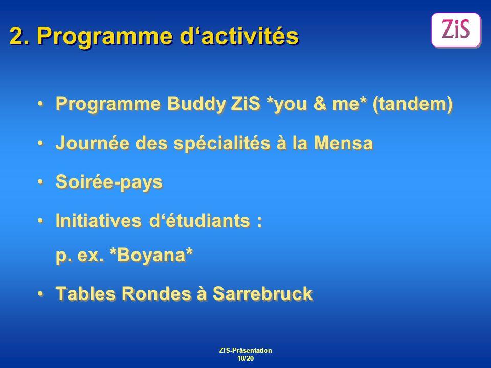 ZiS-Präsentation 10/20 2. Programme dactivités Programme Buddy ZiS *you & me* (tandem) Journée des spécialités à la Mensa Soirée-pays Initiatives détu
