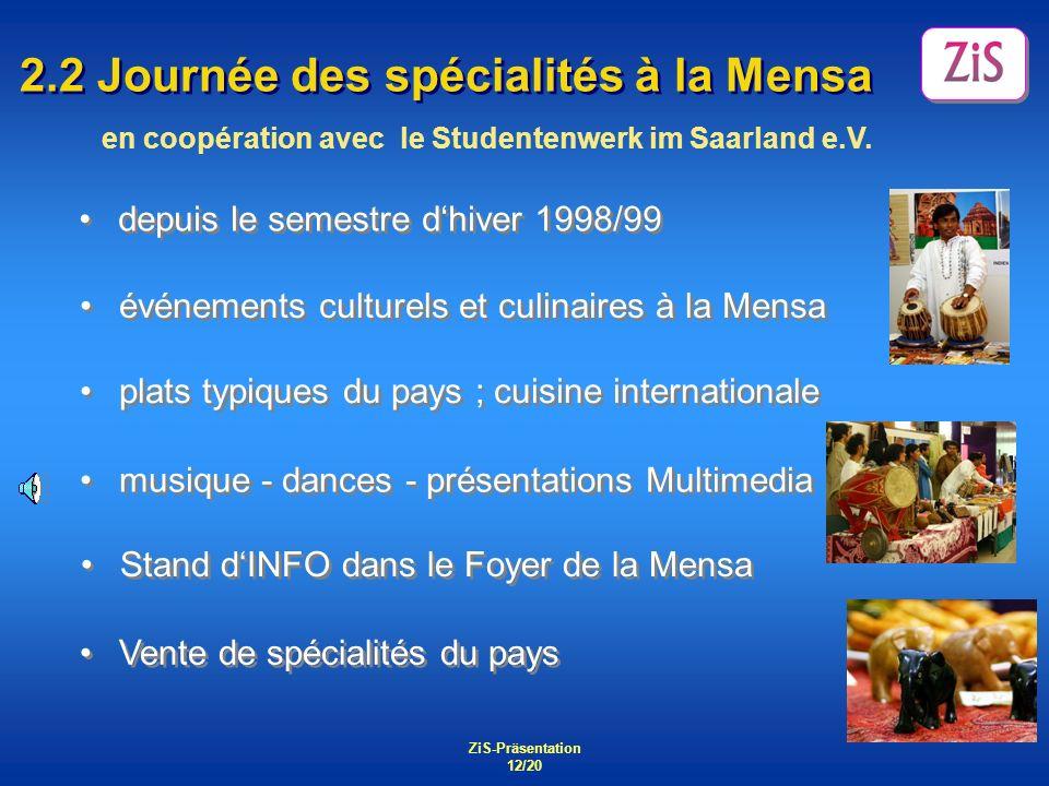 ZiS-Präsentation 12/20 2.2 Journée des spécialités à la Mensa depuis le semestre dhiver 1998/99 événements culturels et culinaires à la Mensa plats ty