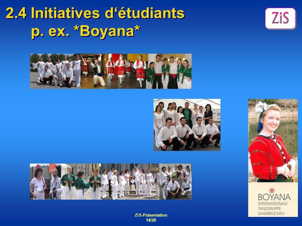 ZiS-Präsentation 14/20 2.4 Initiatives détudiants p. ex. *Boyana* Tanz International: