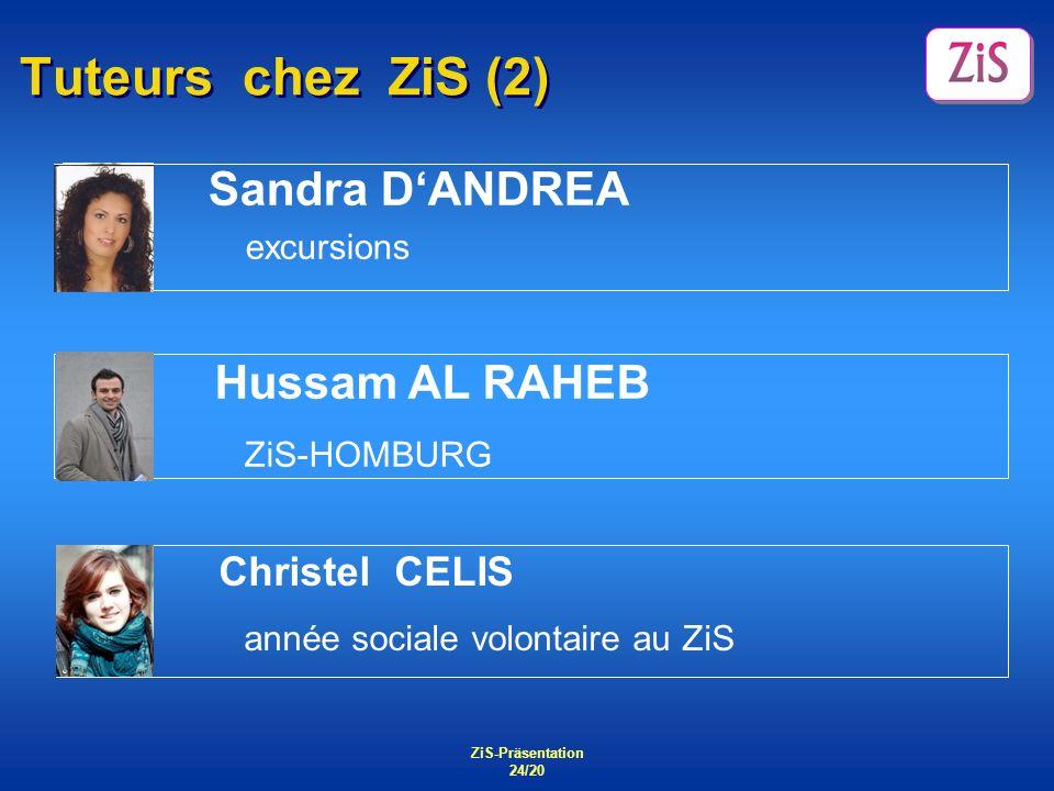 ZiS-Präsentation 24/20 Tuteurs chez ZiS (2) Sandra DANDREA excursions Hussam AL RAHEB ZiS-HOMBURG Christel CELIS année sociale volontaire au ZiS