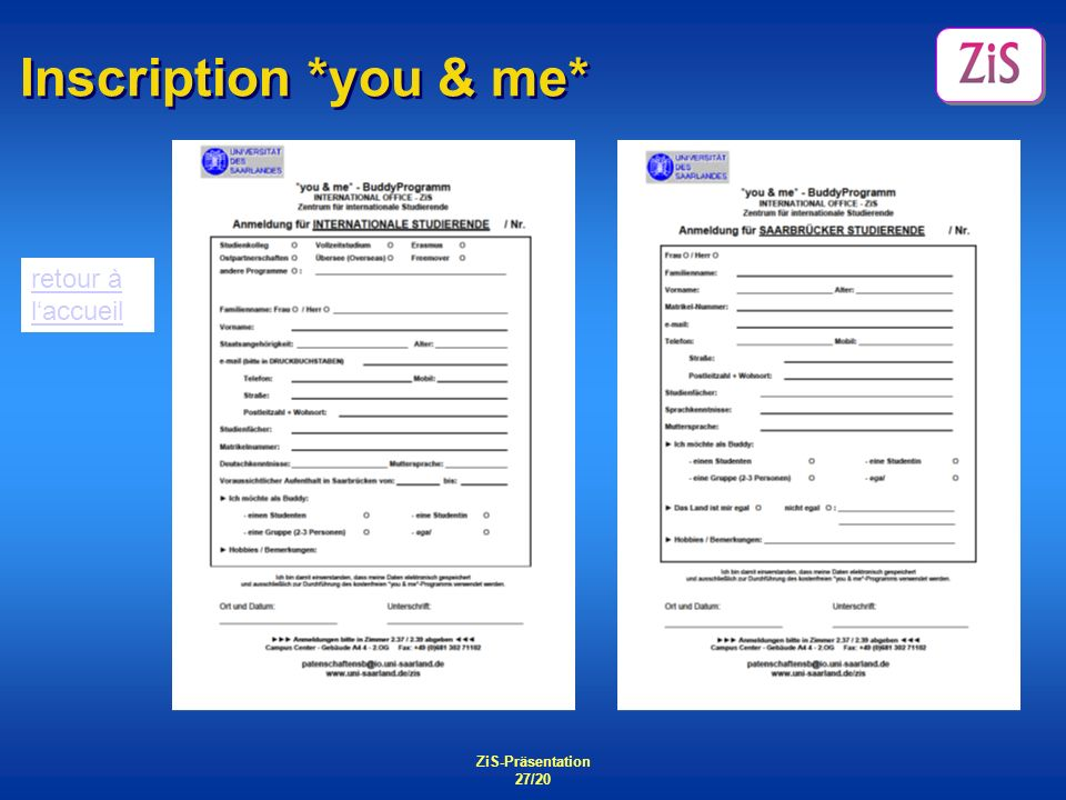ZiS-Präsentation 27/20 Inscription *you & me* retour à laccueil