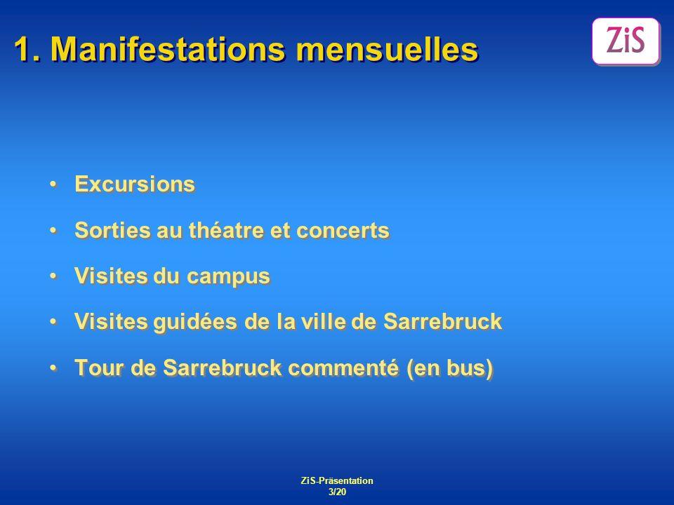 ZiS-Präsentation 3/20 1. Manifestations mensuelles Excursions Sorties au théatre et concerts Visites du campus Visites guidées de la ville de Sarrebru
