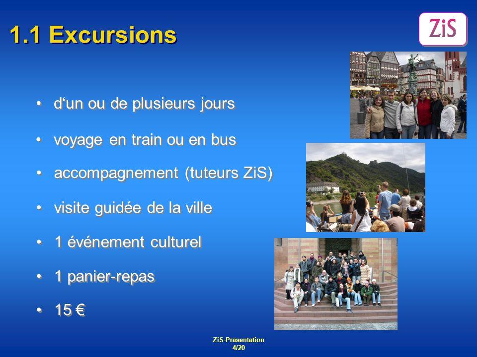 ZiS-Präsentation 4/20 1.1 Excursions dun ou de plusieurs jours 15 1 panier-repas 1 événement culturel visite guidée de la ville accompagnement (tuteur