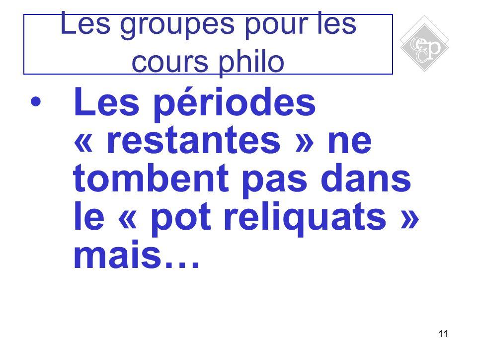 11 Les périodes « restantes » ne tombent pas dans le « pot reliquats » mais… Les groupes pour les cours philo