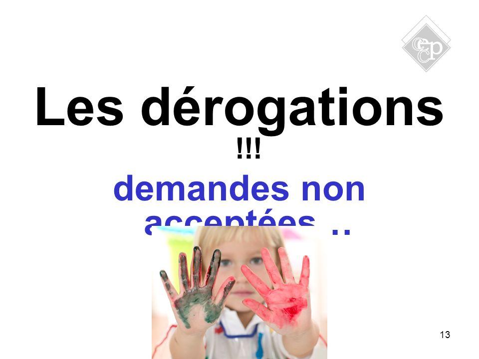 13 Les dérogations !!! demandes non acceptées…