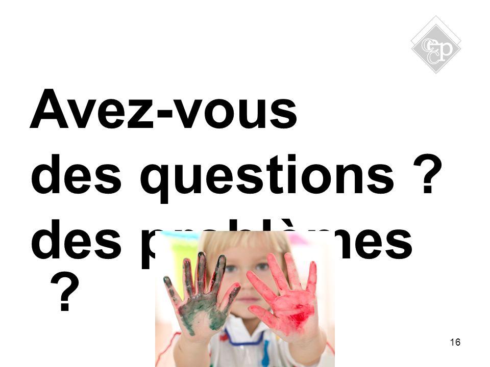 Avez-vous des questions ? des problèmes ? 16