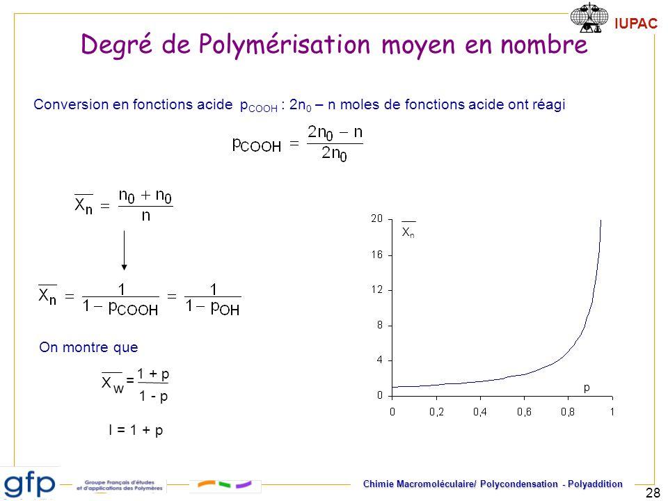 IUPAC Chimie Macromoléculaire/ Polycondensation - Polyaddition 28 I = 1 + p 1 + p X w = 1 - p Conversion en fonctions acide p COOH : 2n 0 – n moles de