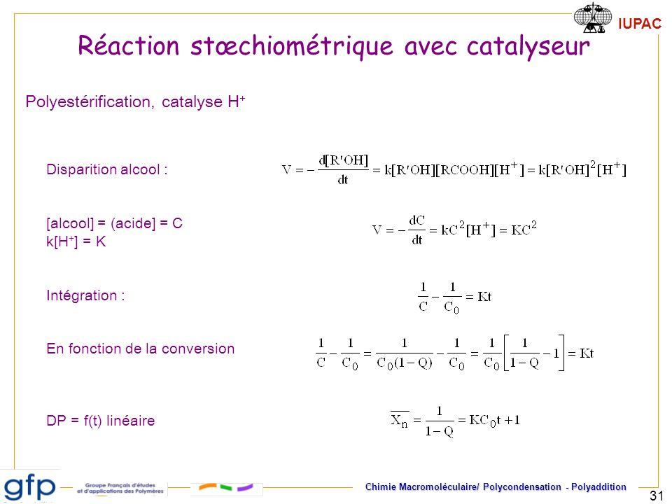 IUPAC Chimie Macromoléculaire/ Polycondensation - Polyaddition 31 Polyestérification, catalyse H + Disparition alcool : [alcool] = (acide] = C k[H + ]